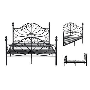 White Metal Bed Frame with Headboard and Footboard Double Size 4ft6 Black UK
