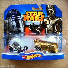 Disney STAR WARS Hot Wheels C-3PO & R2-D2 diecast Mattel INTERNATIONAL CARD 2pk