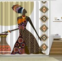 Shower Curtain Hooks Bathroom Bathtub Shower Cover African Women Painting Decor