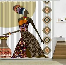 Shower Curtain Hooks Bathroom Bathtub Shower Cover African Women Painting Decor