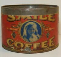 Rare Old Vintage 1920s SMILE COFFEE GRAPHIC COFFEE TIN ONE POUND TOPEKA KANSAS