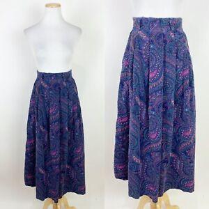 VTG 90s Paisley Corduroy Midi Skirt XS Elastic High Waist Jewel Tone Navy Blue