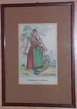 Litografía coloreada CA 1845 asistían a la iglesia Saterland Frisia Mackenzie