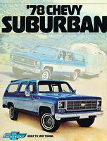 1978 Chevrolet Suburban 12-page Original Dealer Sales Brochure Catalog - Chevy