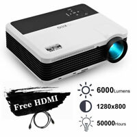 EUG 1080p HD LED 6000LM Video Projector Home Theater Party HDMI USB PS4 7500:1