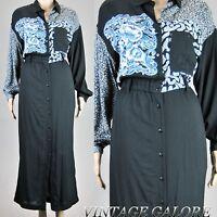 Vtg 70s 80s Black floral top secretary wear to work pencil wiggle dress Sz ML
