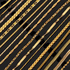 Women Men's Jewelry 18K Gold Plated Cuban Curb Link Chain Necklace Bracelet Gfit