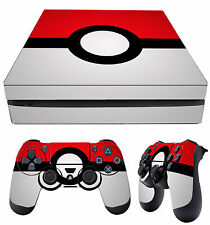 PS4 Slim Skin Pokemon Pokeball Red White + Controller Decals Vinyl New LAY FLAT