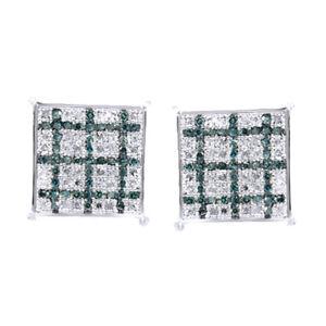 0.38 Ct Blue & White Simulated Diamond Men's Stud Eariings 14K White Gold Over