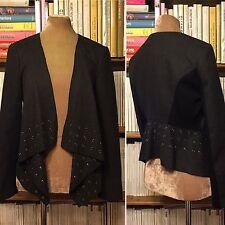 KAREN MILLEN charcoal grey wool rivet studs open front jacket blazer UK 12 US 8