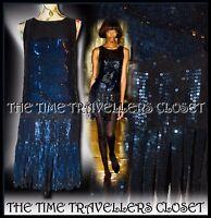 KATE MOSS TOPSHOP BLACK BLUE SEQUIN STRAND FLAPPER DRESS VTG ROARING 20s UK 6 8