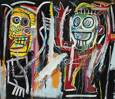 QUADRO STAMPA SU TELA JEAN MICHEL BASQUIAT DUSTH HEADS 40X35 POP ART WARHOL