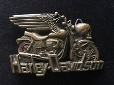 VTG 1980 Baron Buckles Harley Davidson Solid Brass Belt Buckle w/ Wings & Skull
