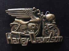 VTG 1980 Baron Buckles Harley Davidson Solid Brass Belt Buckle w/ Wings & Skull