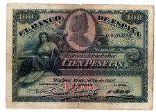 1907 ESPAÑA, 100 Pesetas,  MBC, BILLETE