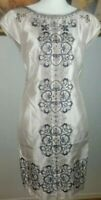 Monsoon London Embroidery and Bead Work Cocktail Dress Mink Color Size 10