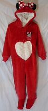 Baby Girls Matalan Red Minnie Mouse Velour Onesey Pram Suit Age 12-18 Months