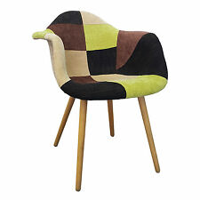 Mid Century Eames Style Dining Arm Chair Shell Arm Chair Fabric w/Wood Legs