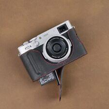 VR Handmade Genuine Leather Camera Half Case for Fuji Fujifilm X100V Black Red