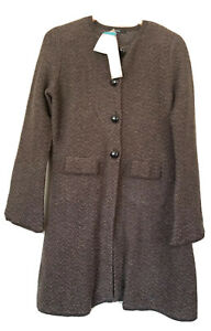 marks and spencer Women Brown Chevron Long Sleeve Tunic Length cardigan 14 new.