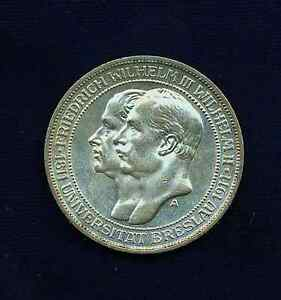 GERMANY  PRUSSIA  1911-A   3 MARK SILVER COIN,  CHOICE UNCIRCULATED