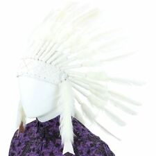 Indian Headdress Chief Feathers Bonnet Native American Hat WHITE