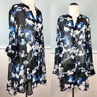 SIZE 1X Calvin Klein Roll Tab Long/ 3/4 Sleeve Top Blouse Shirt Women's Plus NWT