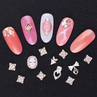 3 Pcs Nail Rhinestone Flat Bottom Nail Charms Metal Gold Studs Nail Art Decors