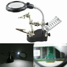 Helping Hand Soldering Stand With LED Light Glas Magnifier Clip Magnifying Glass