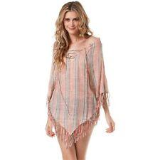 Billabong Pink Striped Boho Goddess Fringe Festival Beach Poncho Cover Up Top M