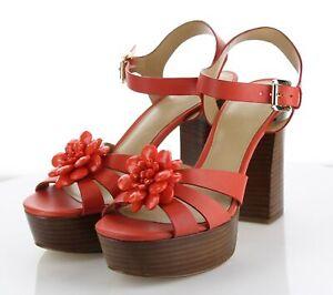 06-11 Women's Sz 6.5 Michael Kors Leather Stacked Heel Platform Strap Sandals