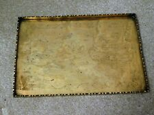 OLD CHINESE BRASS TRAY WITH ENGRAVINGS OF MEN & FLOWERS