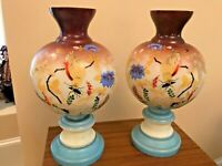 """FABULOUS VINTAGE SET OF GLASS HAND PAINTED VASES - OVER 12"""" HIGH"""