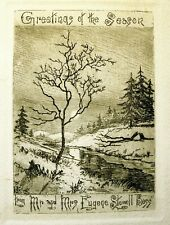 Antique Orig. Etching -- Christmas Greeting -- Connecticut Winter Landscape