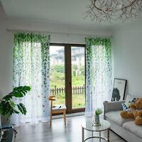 Living Room Leaf Birds Printed Drapes Bedroom Pastoral Fresh Sheer Curtain`.JCAU