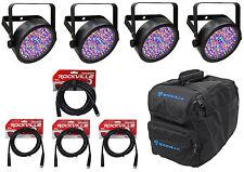4) Chauvet SLIMPAR56 Slim Par Can 56 LED Lights w/ DMX Controls+Gear Bag+Cables