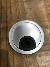 "2-1/4"" Desk Grommet, Cable Hole Cover, Brushed Silver Metal"