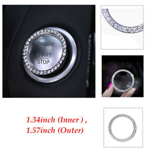 Silver Car Engine Start Stop Push Button Switch Decor Crystal Bling Ring Trim