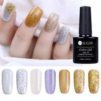 Glitter UV Nagellack Silver  Rose Gold Nail Art Gel Polish UR SUGAR 7.5ML