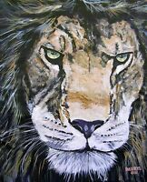 LION Original Fine Art PAINTING Artist DAN BYL Contemporary Animal Huge 5x4 feet