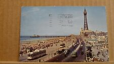 Postcard posted 1962 Lancashire, Blackpool, Promenade and north pier