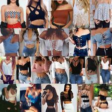 Sexy Women Summer Vest Top Cotton Crop Top Sleeveless Blouse Tank T-Shirt Lot