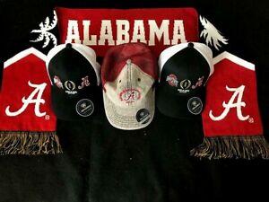 2021 NCAA Championship Game Alabama Crimson Tide Scarf & 3 Caps New w. Tags