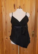 DOROTHY PERKINS black chiffon v neck asymmetric party camisole vest tunic top 14