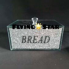 XL Silver Crushed Diamond Bread Bin Crystal Mirrored Container Jar Kitchen Bling