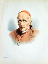 ROYAUME-UNI - PORTRAIT du CARDINAL MANNING - Gravure couleur du 19e siècle