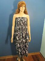 XL black/white FLORAL PRINT ELASTIC MAXI dress unbranded