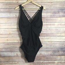 MERONA Women's One Piece Swimsuit Black Strappy Slimming Gathered Waist XL NWT
