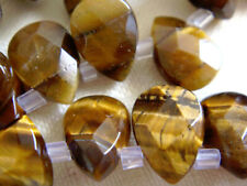 Tiger Eye 7x10mm Faceted Teardrop Briolette 8 Inches Stone Bead !$