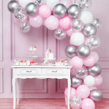 125 Balloon Arch Kit Garland Birthday Wedding Baby Shower Party (Pink/Silver)